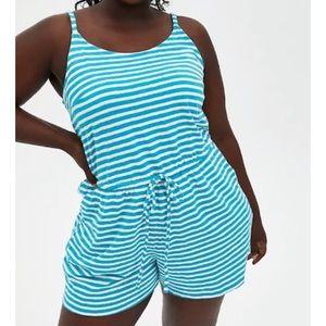 🆕 Teal Stripe Slub Jersey Romper Outfit 1X 14 16